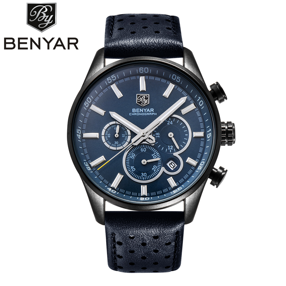 Men Watches 2017 NEW Top Brand Luxury BENYAR Sport Watch Leather Strap Chronograph Waterproof Quartz Watches Relogios Masculino hubot elegant classic men s watch dates calendar classical art carved craft design chronograph men sport watches relogios