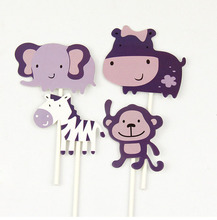 Cake Flags Cupcake Topper Toppers 4pcs/set Happy Birthday Rhino elephant Zebra monkey Cartoon Wrapper Party Decor For Kids