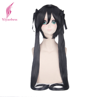 Yiyaobess 100cm Nakano Azusa Long Black Cosplay Wig With Two Straight Panytails For Costume Party Synthetic