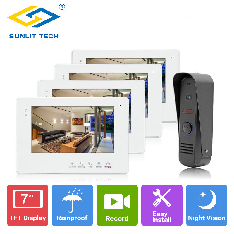 Wired 7 inch Color Home Video Door Phone Intercom with Motion Recording Intercom Door Bell Entry Access System Indoor Monitor 7 inch password id card video door phone home access control system wired video intercome door bell