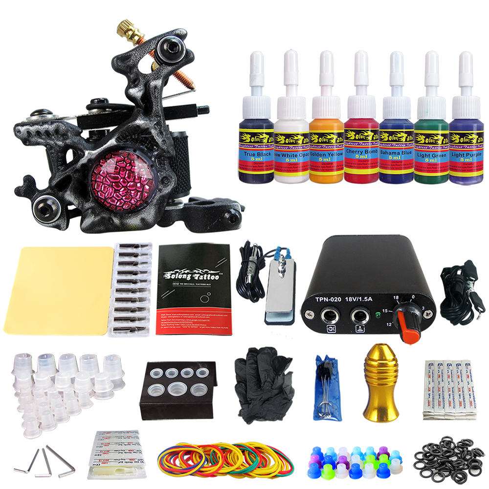 Solong Tattoo Complete Beginner Tattoo Kit 1 machine Gun 7 Color Inks Power Supply Grips Foot Petal Needles Set TK105-58Solong Tattoo Complete Beginner Tattoo Kit 1 machine Gun 7 Color Inks Power Supply Grips Foot Petal Needles Set TK105-58