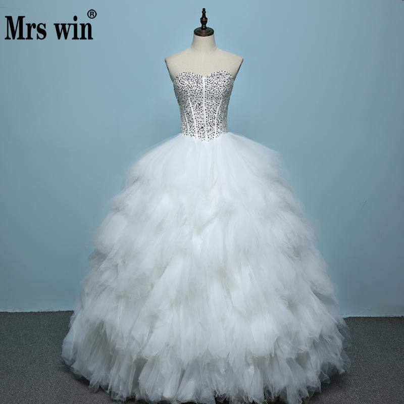 Free Shipping 2019 Fashion Wedding Dress Sexy High Quality Feather Princess Wedding Gown Lace Up Luxury