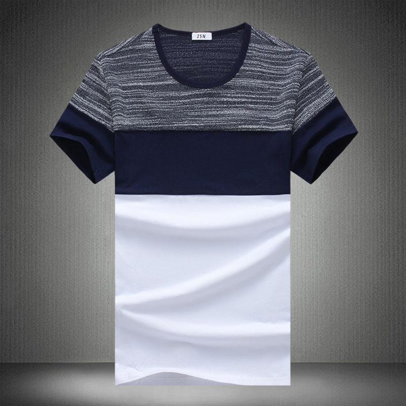 New Summer Fashion T Shirt Men Casual Patchwork Short Sleeve T Shirt Mens Clothing Trend Casual Slim Fit Hip-Hop Top Tees 5XL