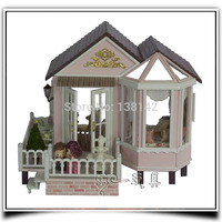 A012 Large Villa With Music Voice Light Diy Dollhouse Wooden Doll House Miniature Girls Kids Gifts