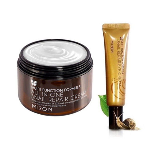 MIZON All In One Snail Cream 120ml Super Size + Snail Eye Cream Tube 15ml Skin Care Face Cream Antiaging anti wrinkle Eye Cream