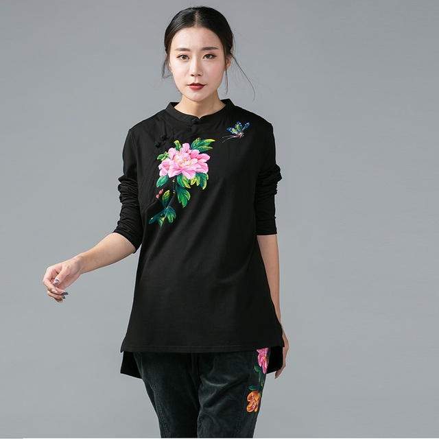 84447d33281 2017 Plus size women clothing short in front long China style hand-painted  pullover autumn cotton t shirt tees tops 4XL XXXXXL