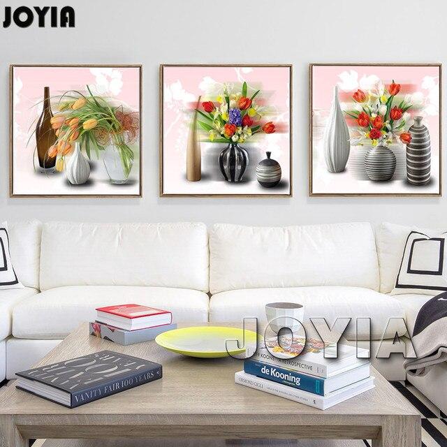 Tríptico lienzo hermoso jarrón con flores pared arte pinturas ...