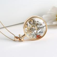 Women's Necklace with Dried Flowers Glass Pendant