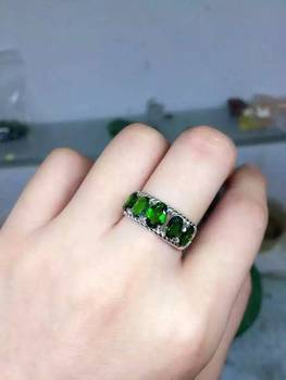 Natural green diopside stone Ring Natural gemstone Ring S925 sterling silver trendy Crude array women's girl party fine Jewelry