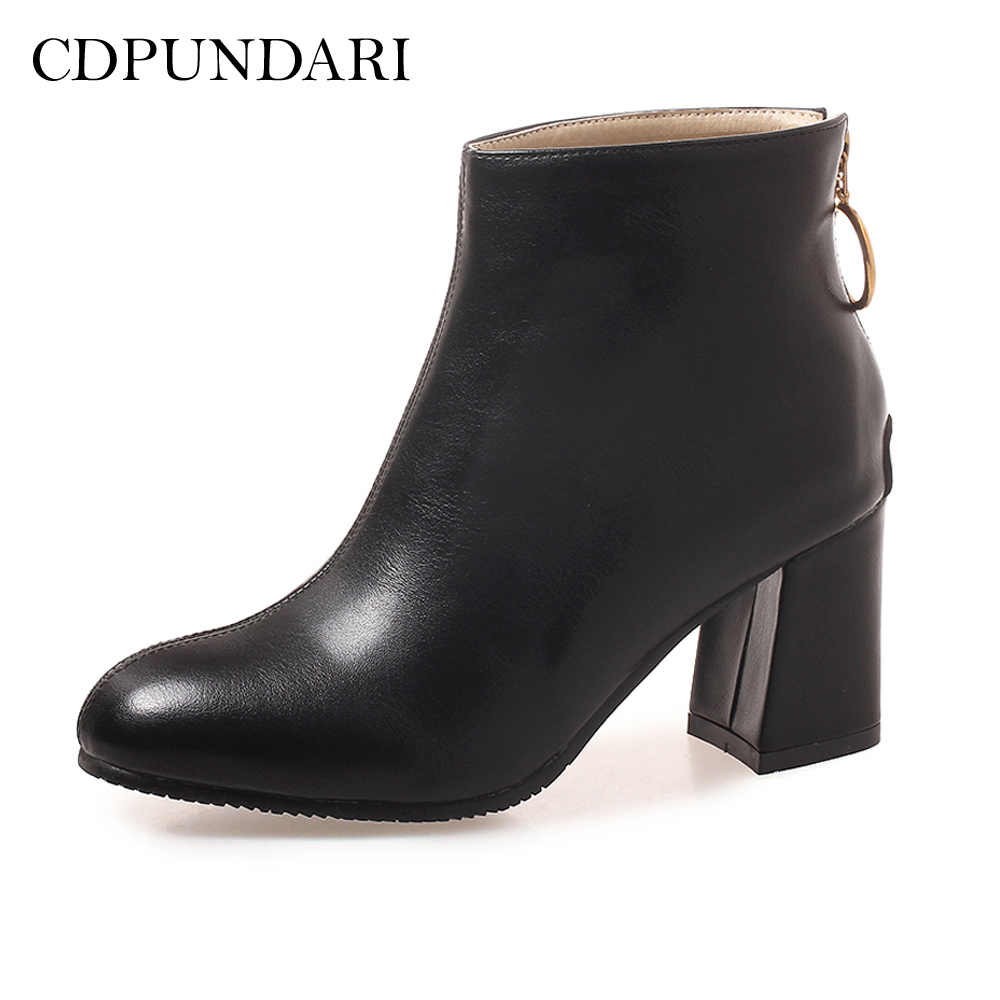 CDPUNDARI Round Toe Ankle boots for women High heel boots Winter shoes woman botas mujer botte femme zapatos mujer цена
