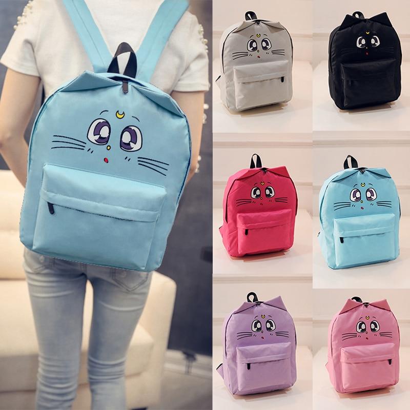 Women Canvas Backpacks Cat Eyes Animal Printing School Bags For Teenagers Girl Rucksack Laptop Bagpack