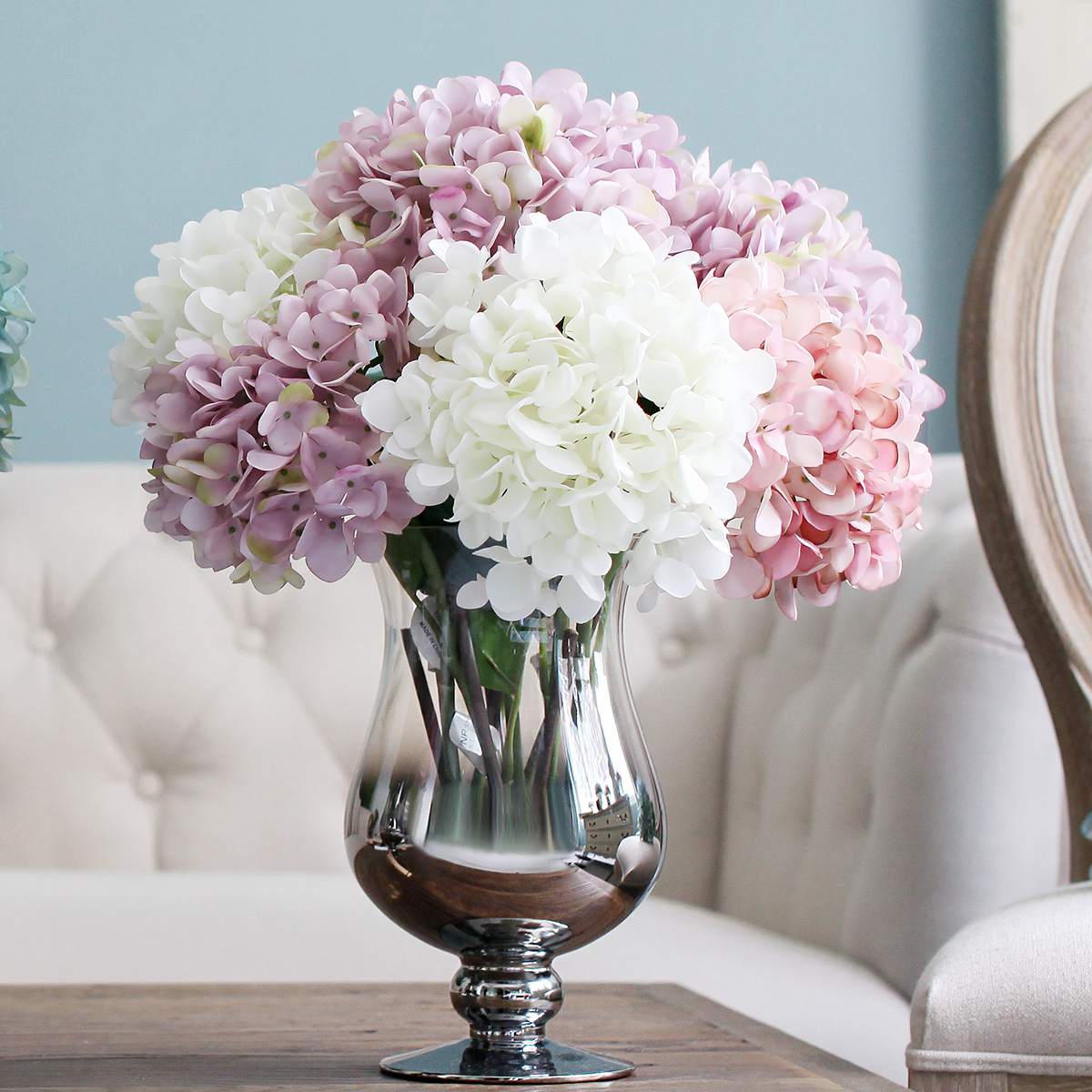 Artificial silk flower hydrangea bouquet party artificial for Artificial flowers for home decoration online