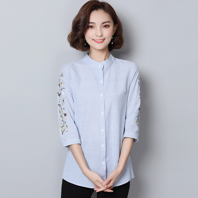 ccd8f13d537 Official Women Casual Wear Three Quarter Sleeve Embroidered Striped Shirt  2018 Spring Summer Large Size New Arrival Blouse