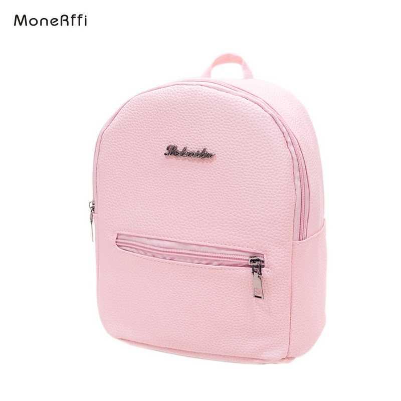 5d2ad916d8e4d MoneRffi النساء على ظهره كلية البسيطة حقيبة كتف بو الجلود السيدات حقيبة  السفر حقيبة فتاة الحلوى