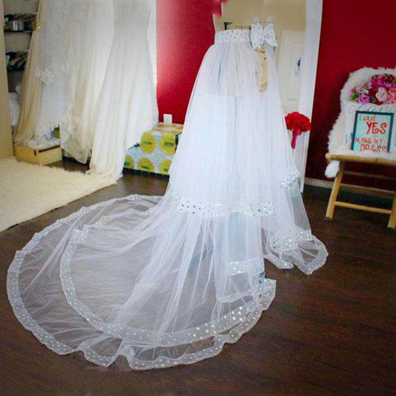 White Tulle Overskirt A Line Women's Skirts With Beaded Sweep Train Custom Made Wedding Skirts With Bow Sashes-in Skirts from Women's Clothing    1