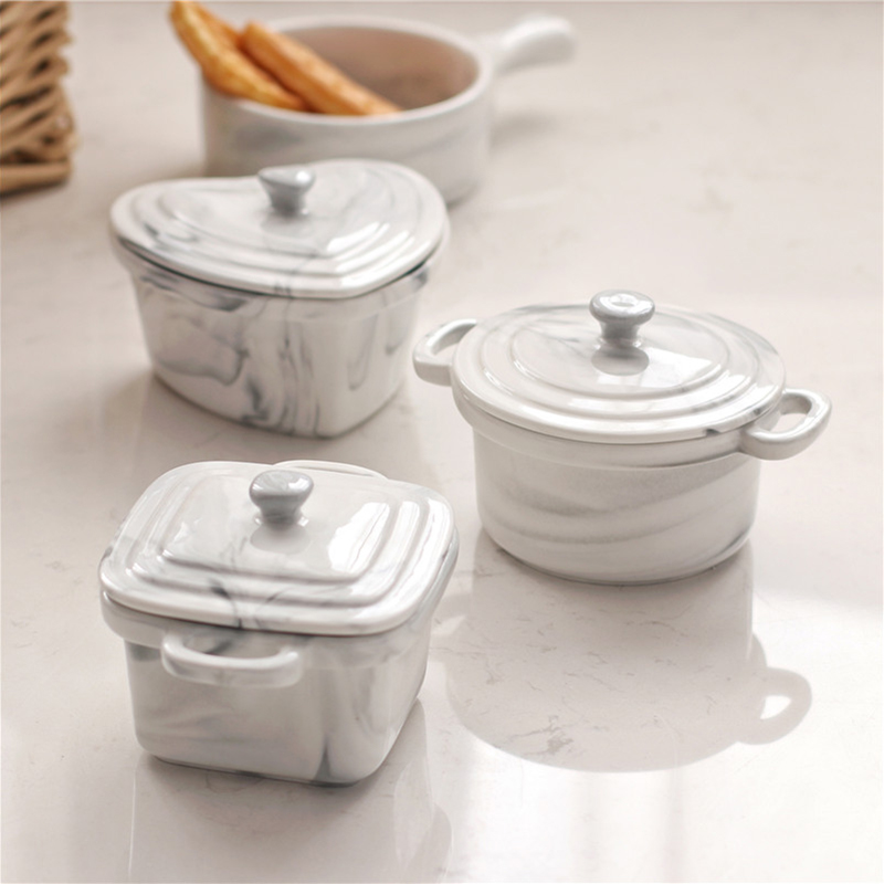 Creative Design Ceramic Marble Texture Bowl Home Kitchen Tableware with Lid Kit Stew Dinnerware Porcelain Noodle Soup Bowls Gift