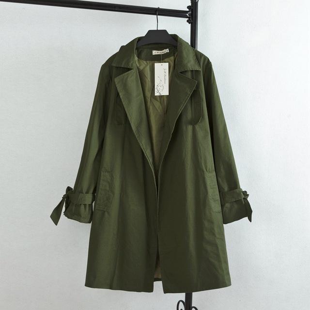 Casual Ejército Verde Trench Coat para Las Mujeres Más El Tamaño 3XL Turn-down Collar cintura Ancha Abrir Stitch Loose larga Trinchera KK1641