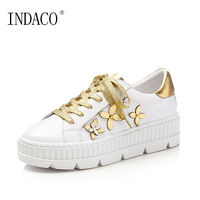 2019 Spring Platform Gold Flowers White Sneakers Cowhide Genuine Leather Fashion Casual Shoes 4.5CM Chaussures Pour Femme