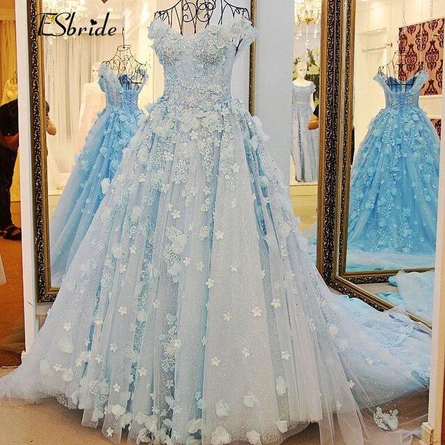 Newest light blue bride dress wedding gown princess beach for Light blue beach wedding dress