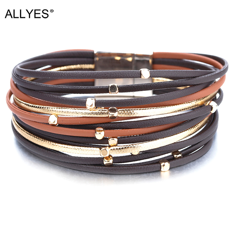 ALLYES Metal Beads Genuine Leather Bracelets For Women 2020 Fashion Slim Strips Boho Multilayer Wide Wrap Bracelet Femme Jewelry(China)