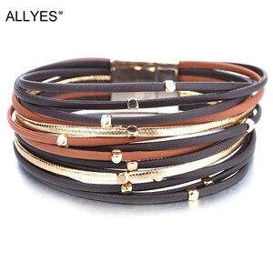 ALLYES Metal Beads Genuine Leather Bracelets For Women 2020 Fashion Slim Strips Boho Multilayer Wide Wrap Bracelet Femme Jewelry