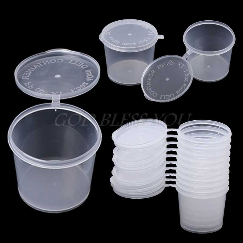 Plastic Disposable Sauce Cup Clear Salad Dressing Food Storage Containers + Lids
