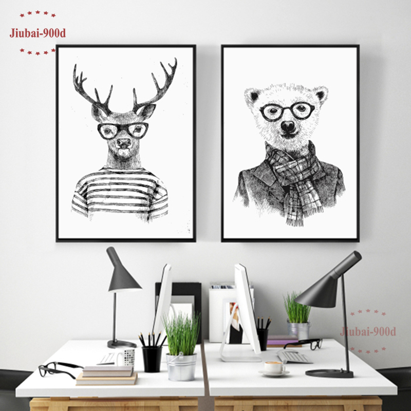 Hand Draw Animals Canvas Art Print Poster Deer And Polar Bear Set Wall Pictures For Home