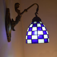 Tiffany Wall Lamp Mediterranean Sea Mosaic Stained Glass Sconce Mirror Bedroom Lighting E27 110 240V