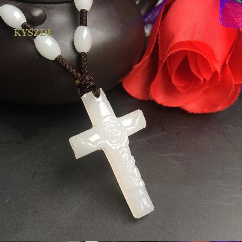 KYSZDL bianco Naturale yu pietra Afgano materiale di pietra perline corda Pendente Croce Gesù Pendente Della Collana dei monili del regalo spedizione