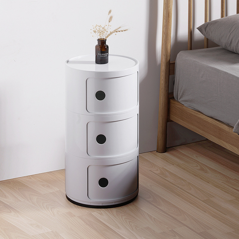 Nordic Simple ABS Bedside Storage Cabinet Modern Sofa Bedroom Nightstands 2 / 3 Tier Round Storage Finishing Cabinets Mx6291911