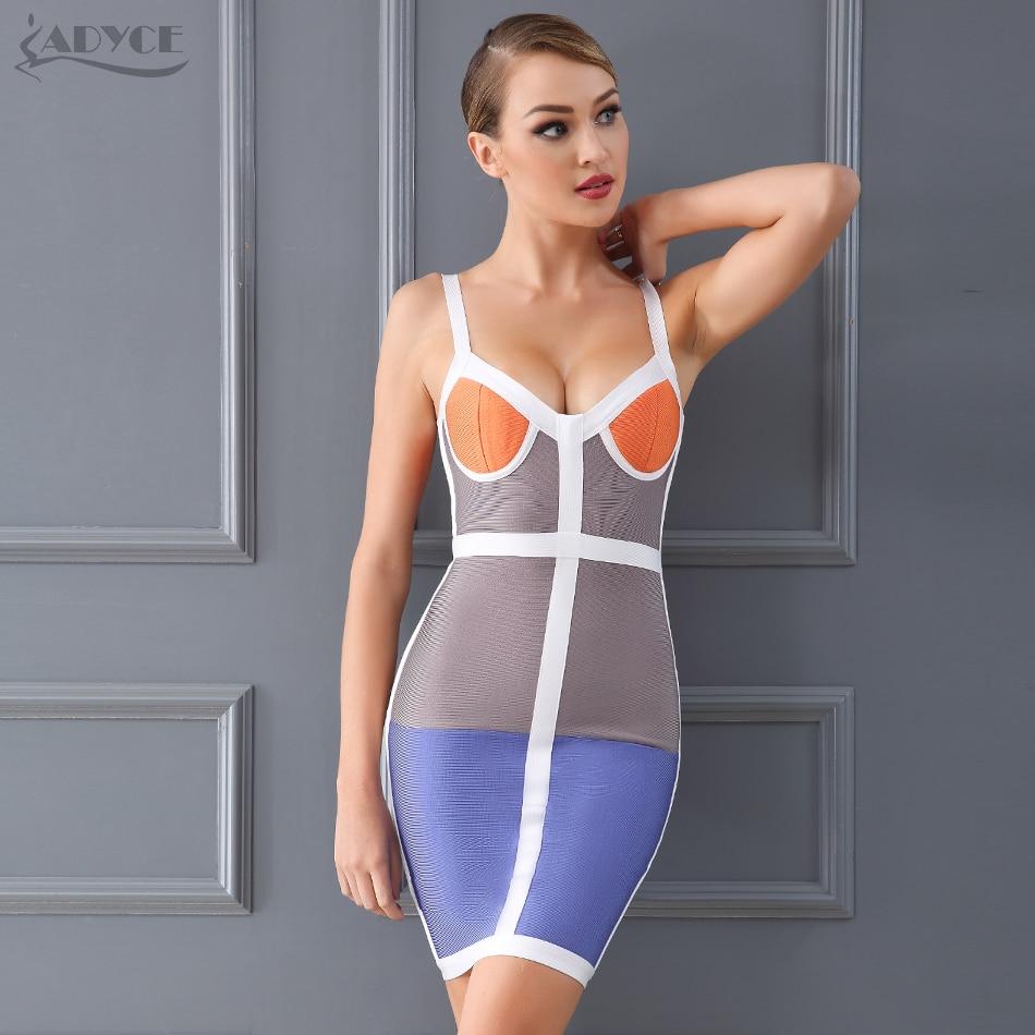 Adyce 2017 High Quality Women Bodycon Dress Sexy V Neck Color Blocked Double Straps Vestidos Celebrity