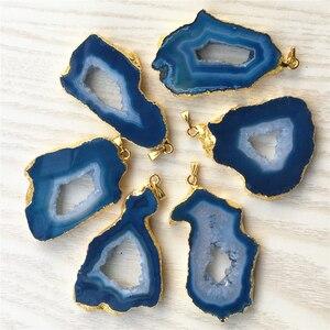 Image 4 - Pierre naturelle brésilienne plaquée, pendentifs à bords galvanisés, Agates, Geode Drusy Druzys, pour colliers, fabrication de bijoux, 5 pièces