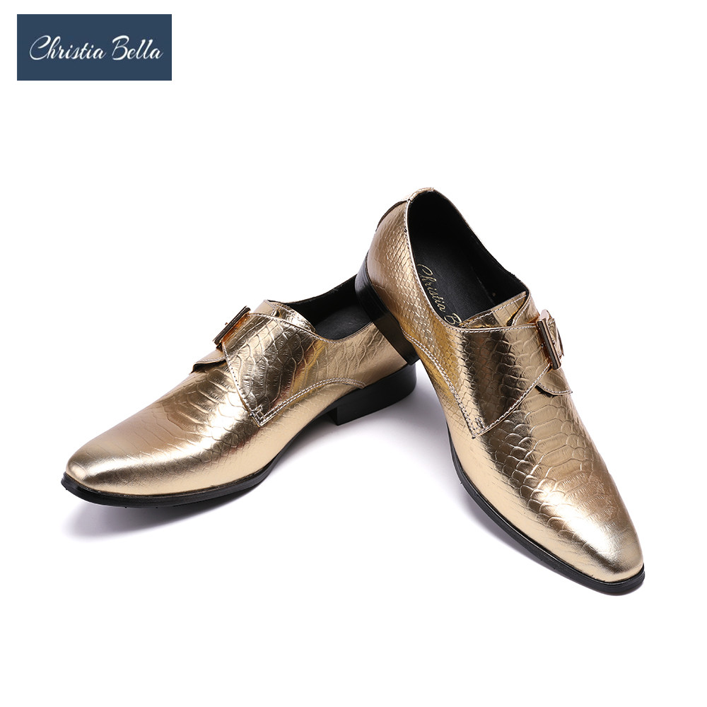 Christia Bella New British Style Genuine Leather Bushiness Shoes for Men Formal Oxfords Gold Dress Shoes Men Wedding Party Shoes цена
