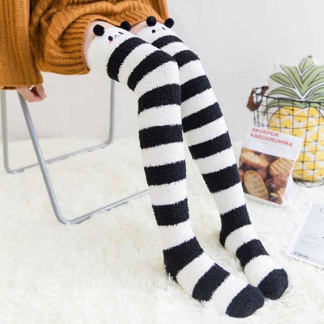 Зимние теплые коралловый флис гетры для девочек Для женщин животных моделирование чулки в полоску Kawaii уютный длинный бедра высокие носки