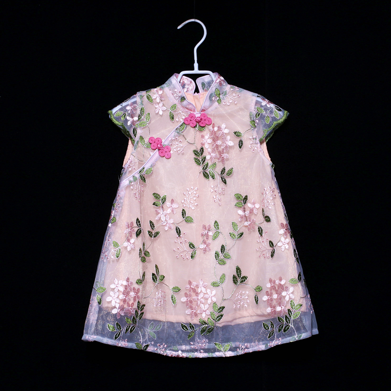 Summer mother and daughter matching dress family clothes children embroidery organza dress kids mom girl loose cheongsam dresses summer embroidery ruffled round neck dress loose robe dress