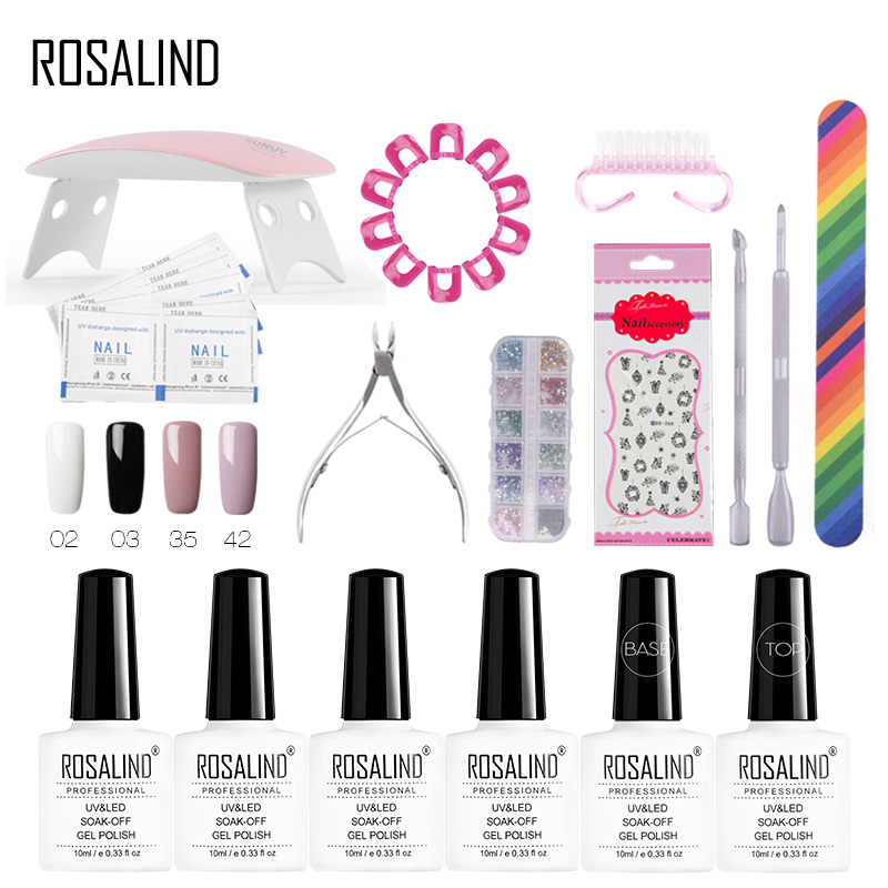 ROSALIND Gel Nail Polish Set For Manicure Acrylic Soak Off Gel Varnish For Nail Art Design UV Dryer Nail Extension Tool kit блуза lo lo mp002xw0qv9r