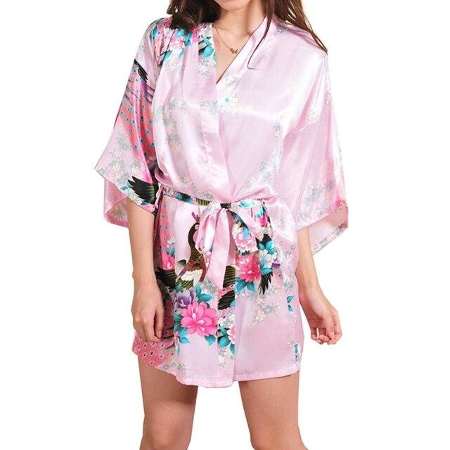 aca2b2d8c7 Silk Satin Wedding Bride Bridesmaid Robe Floral Bathrobe Short Kimono Robe  Night Robe Bath Robe Fashion Dressing Gown For Women
