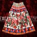 2017 Runway Designer El Último Verano Media Faldas de Alta Calidad de Las Mujeres Cinturón Elástico Rose Print Media Falda de Talle Alto