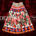 2017  Runway Designer The Latest Summer Half Skirts Women's High Quality Elastic Belt Rose Print High Waist Half Skirt