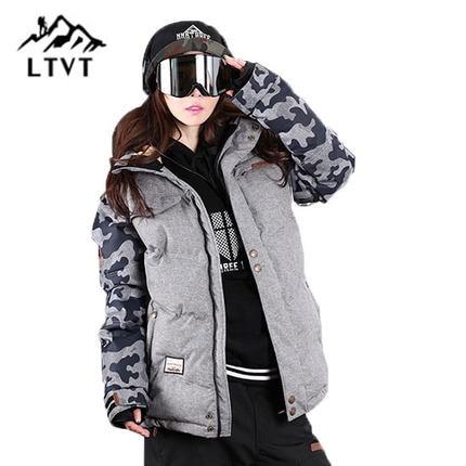 LTVT Marque Ski Veste Femmes Snowboard vestes Chaud Neige Manteau Respirant Camouflage Imperméable Ski Vestes Femme