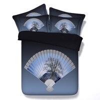 3D Çin geleneksel katlama fan yatak nevresim seti sac kapakları yatak örtüsü ikiz tam kraliçe cal süper kral Yetişkin ev dekor