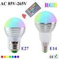 Cheap Wholesale 20pcs/lot E27/E14 16Colors Real 3W AC85-265V LED magic RGB Light Bulb Dimmable 24key IR Remote Control spotlight
