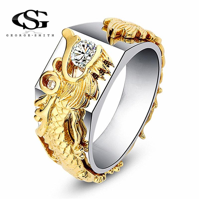 GS Chinese Dragon Ring Men White Austrian Crystal Dragon