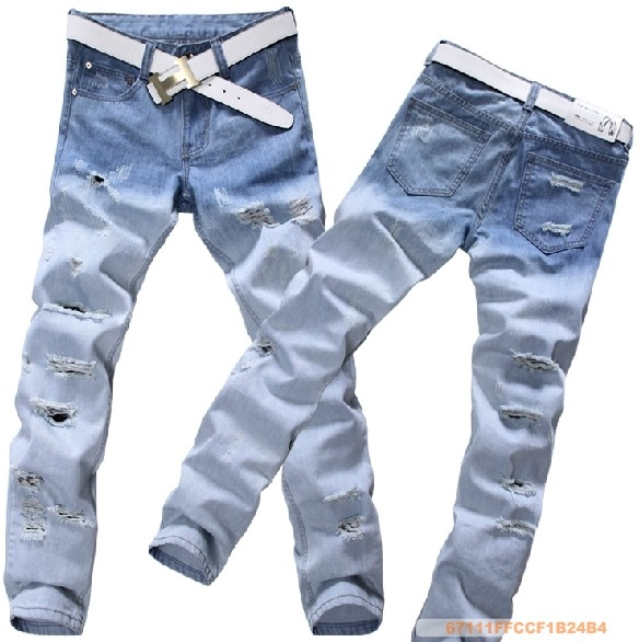 4d3a9ad9 retro denim ripped jeans for men,Light color Hole jeans,branded large  tapered cat scratching jeans for men,freeshipping 28-42