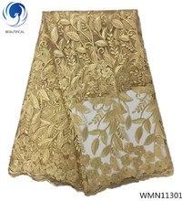 BEAUTIFICAL gold lace fabric mesh nigerian wedding flower pattern fabrics for women dress 5yards/lot WMN113