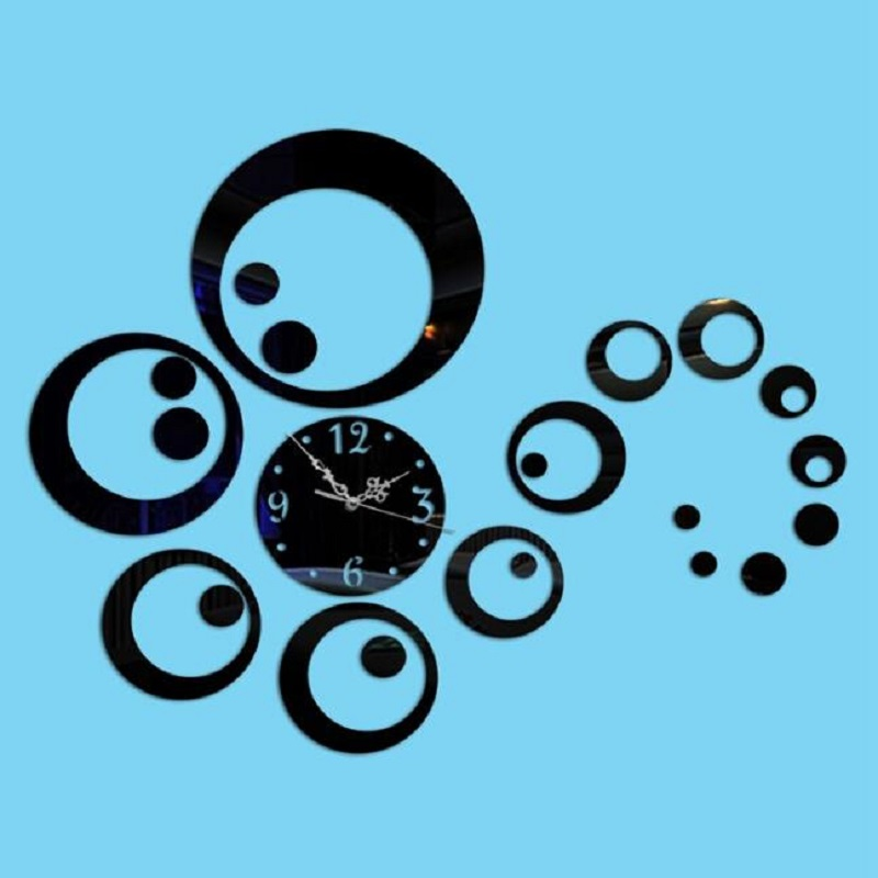 Hot Sale Creative DIY Plastic Mirror Sticke Surface Self-adhensiv Wall Mounted Clocks 3D Wall Clock Study Home Decor Wall Clock