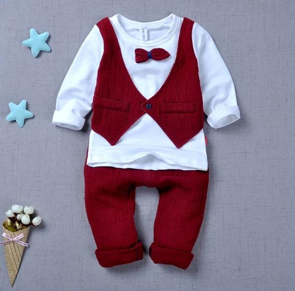 0-3Y new 2016 autumn boys false vest clothing sets 2pcs baby boy t shirt+pant clothes sets kids fashion suit set boy