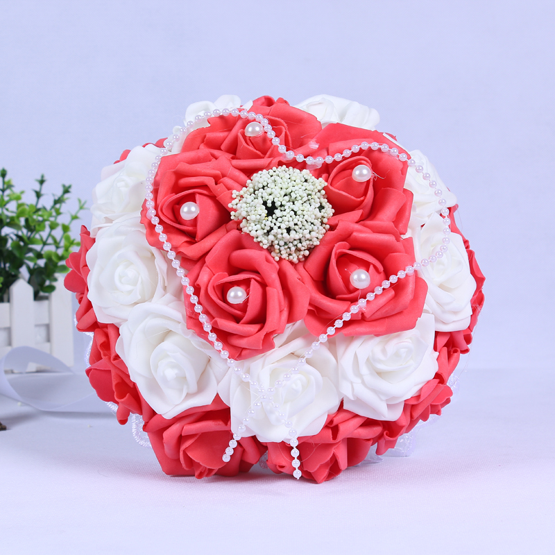 2017 in stock purplepinkred wedding flowers white bridesmaid 2017 in stock purplepinkred wedding flowers white bridesmaid bridal bouquets artificial rose wedding bouquet de mariage in wedding bouquets from weddings mightylinksfo