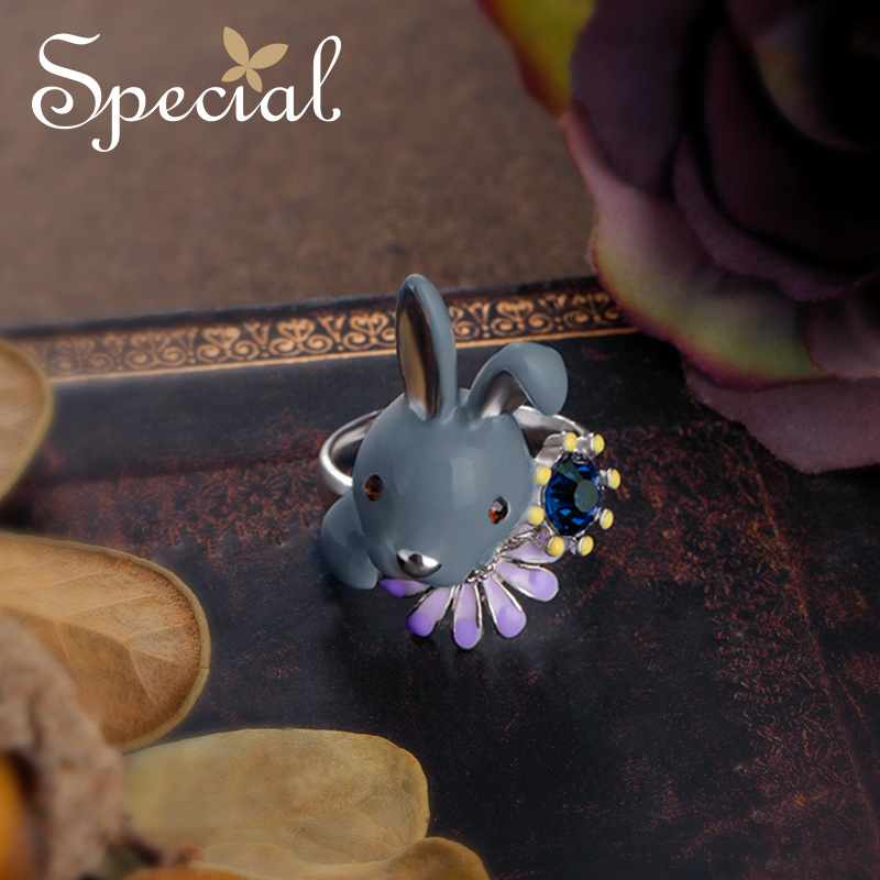 Special New Fashion Animal Rings Ceramic End Open Rings Enamel Adjustable Rabbit Rings Party Jewelry Gifts for Women S1710R
