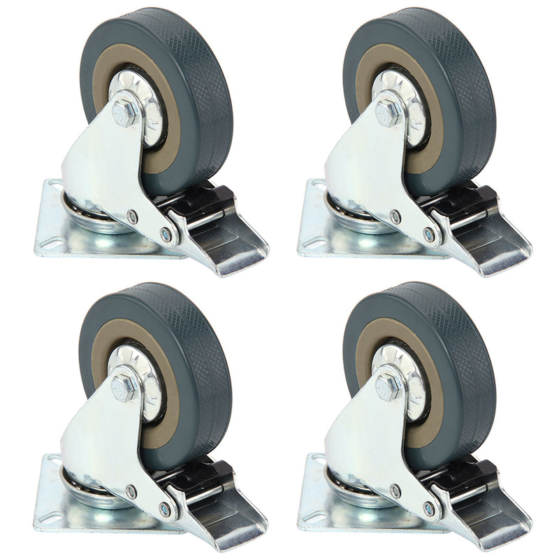 4 inch Universal Mute casters 40KG with brake gray Heavy Duty 50mm 360 Degree PVC Swivel Castor Office Chair Furniture Wheels